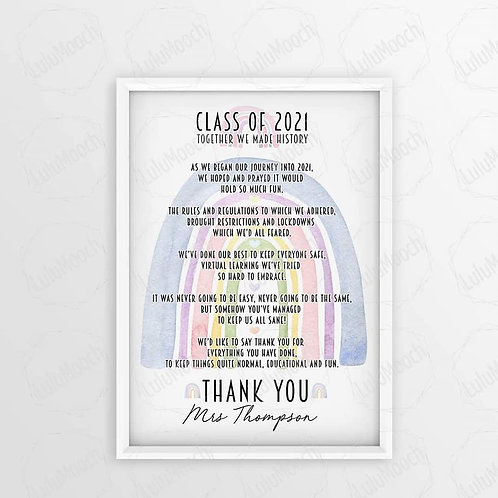 Class of 2021 school poem Print unframed