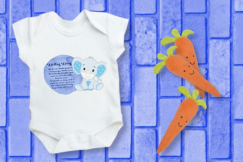 Baby boy or girl elephant Bodysuit and poem and poem