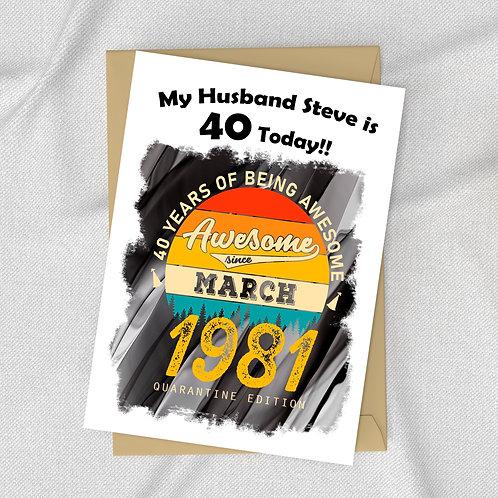 April 2021 40th Birthday Card