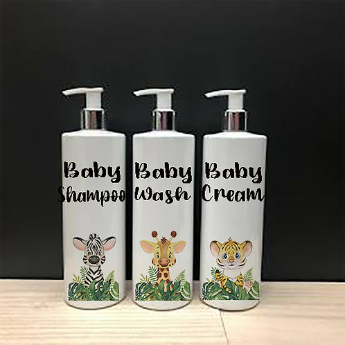 Jungle Animals and leaves set of 3 Pump Bottles