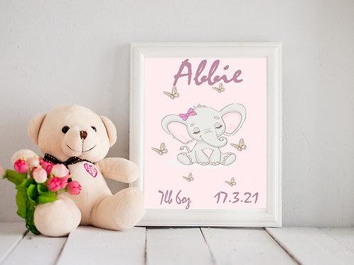 A4 Elephant birth Statistics print girl