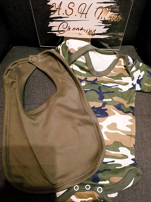 Camo body suit and Khaki Bib