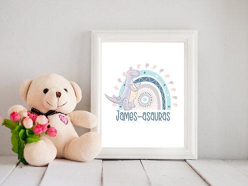 Dino Rainbow Framed prints