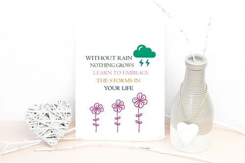 Without rain nothing grows plantable A6 Postcard