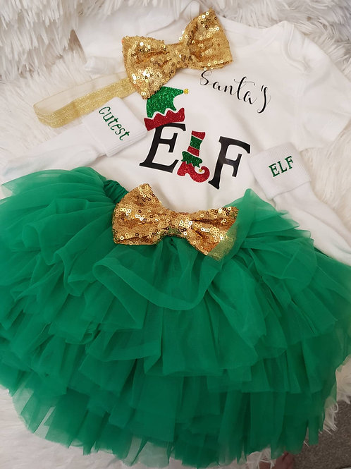 Santa's Elf Tutu set, Green & Gold