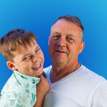 Grandparent and child, blue background