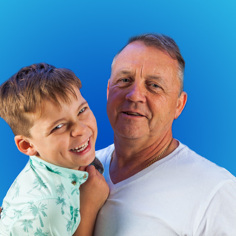 Grandparent and child, blue background