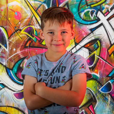 Child with a retro funky background