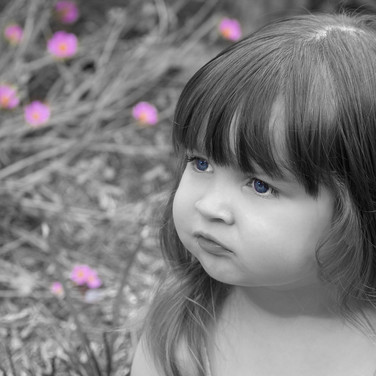 young girl in black and white