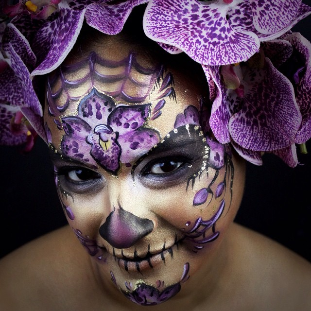 #sugarskull #skull #dayofthedead #diadelosmuertos #orchid #purple #flower #web #facepainting #facepa