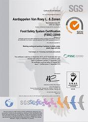 Certificaat Aardappelen Van Roey