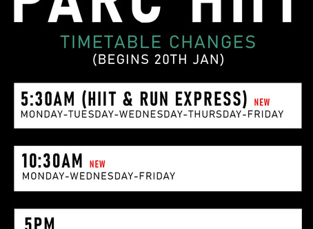 PARC HIIT TIMETABLE CHANGES
