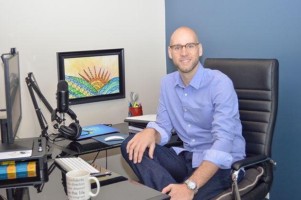 Joe at Desk Dress Shirt Two - Glare Remo