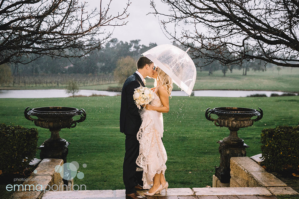 Wedding photos in the rain