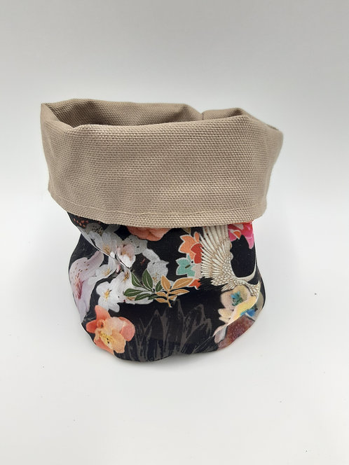 """Cache pot tissus réversible """"Asie"""" taupe taille M"""