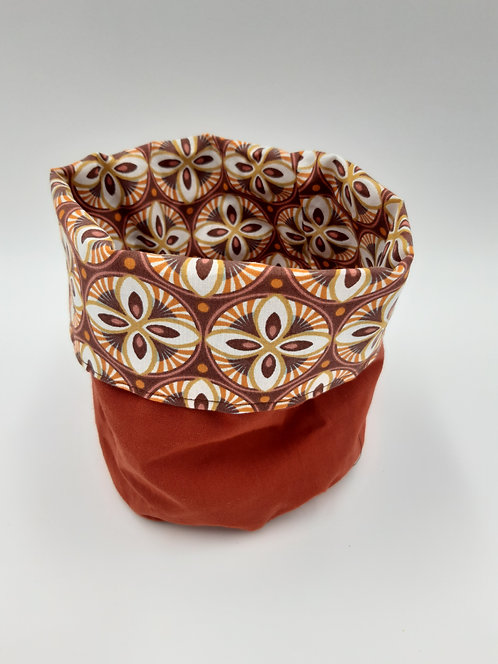 """Cache pot tissus réversible """"Bamako"""" taille M"""