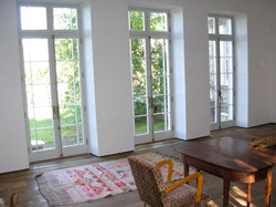 French doors with transome lights