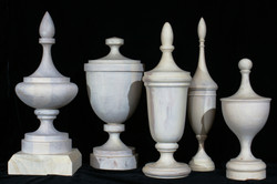 Finials- white oil stain on Maple