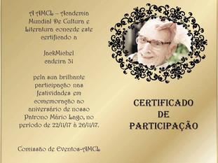 Aniversário de Mário Lago Patrono AMCL (Academia Mundial de Cultura e Literatura) certificado de participação à acadêmica JackMichel