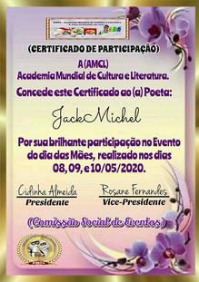 Evento Dia das Mães 2020 AMCL (Academia Mundial de Cultura e Literatura) Certificado de Participação à acadêmica JackMichel