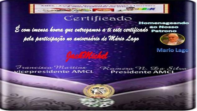 Evento Aniversário Mário Lago Patrono AMCL 2020 (Academia Mundial de Cultura e Literatura) Ceritificado de Participação à Acadêmica JackMichel