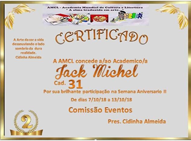 Semana Aniversário II AMCL Certificado de participação à acadêmica JackMichel