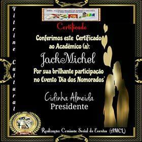 Evento Dia dos Namorados AMCL (Academia Mundial de Cultura e Literatura) Certificado de Participação à Acadêmica JackMichel