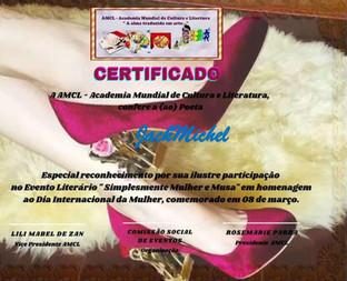 Evento Simplesmente Mulher e Musa AMCL (Academia Mundial de Cultura e Literatura) Certificado de Participação à Acadêmica JackMichel