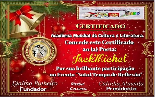 Evento Natal Tempo de Reflexão AMCL (Academia Mundial de Cultura e Literatura) Certificado de Participação à Acadêmica JackMichel