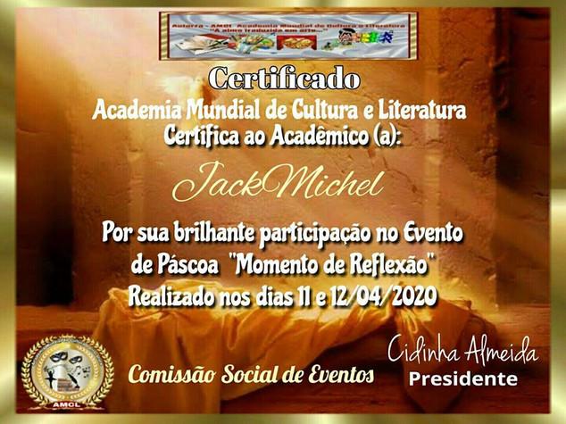 """Evento de Páscoa """"Momento de Reflexão"""" AMCL (Academia Mundial de Cultura e Literatura) Certificado de Participação à acadêmica JackMichel"""