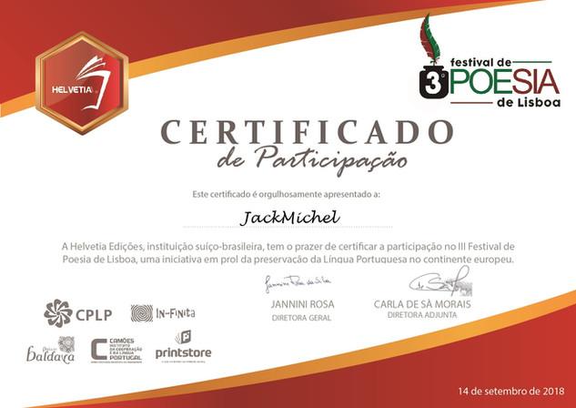 III Festival de Poesia de Lisboa Certificado de participação à JackMichel