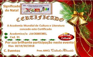 Significado do Natal AMCL (Academia Mundial de Cultura e Literatura) Certificado de Participação à Acadêmica JackMich