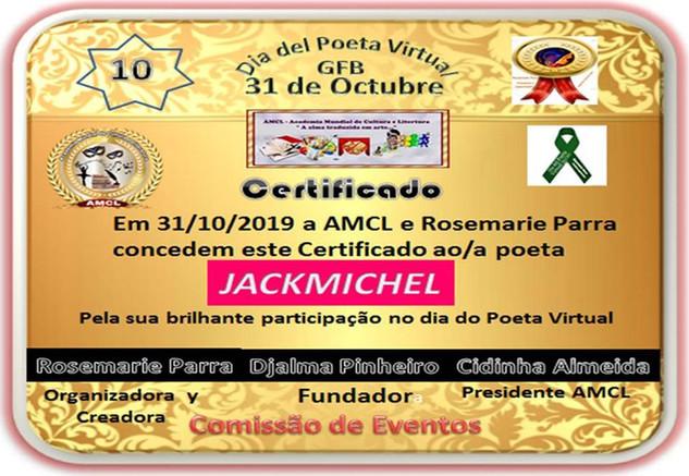 Dia do Poeta Virtual 2019 AMCL (Academia Mundial de Cultura e Literatura) Certificado de Participação à Acadêmica JackMichel
