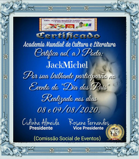 Evento Dia dos Pais 2020 AMCL (Academia Mundial de Cultura e Literatura) Certificado de Participação à acadêmica JackMichel