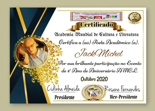 Evento de IV Ano de Aniversário AMCL (Academia Mundial de Cultura e Literatura) Certificado de Participação à acadêmica JackMichel