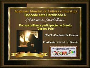 Dia dos Pais AMCL (Academia Mundial de Cultura e Literatura) certificado de participação à acadêmica JackMichel