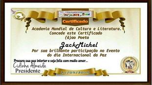 Evento Dia Internacional da Paz AMCL (Academia Mundial de Cultura e Literatura) Certificado de Participação à Acadêmica JackMichel