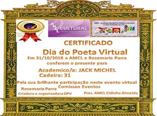 Dia do Poeta Virtual AMCL Certificado de participação à acadêmica JackMichel