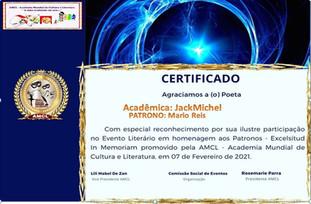 Evento Excelsitud In Memoriam AMCL 2021 (Academia Mundial de Cultura e Literatura) Certificado de Participação à Acadêmica JackMichel