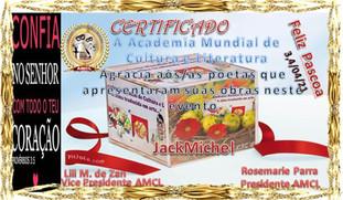 Evento Páscoa 2021 AMCL (Academia Mundial de Cultura e Literatura) Certificado de Participação à Acadêmica JackMichel