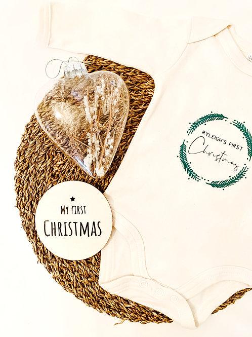 My First Christmas Wreath Bodysuit