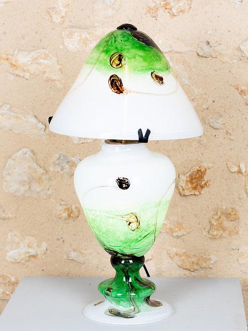 LAMPE EN CRISTAL - BLANCHE ET VERTE