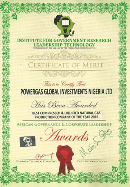CNG Nigeria Powergas Company of the Year Award
