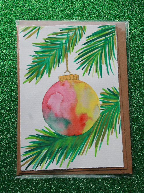 Weihnachtskugel-Karte bunt