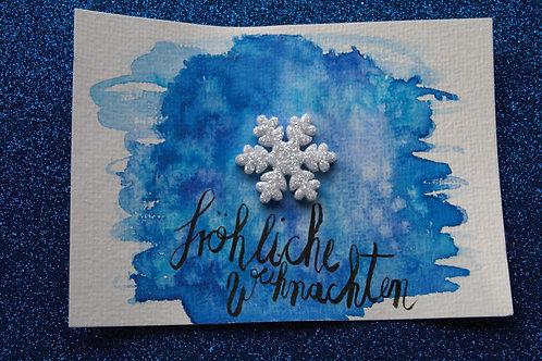 Fröhliche Weihnachten Postkarte mit Glitzer-Schneeflocke