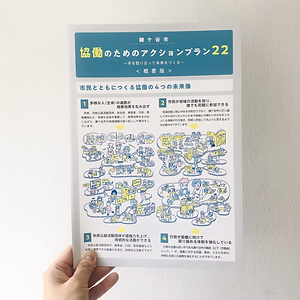 進士遙 Haruka Shinji イラスト illustration インフォグラフィック infographic リーフレット leaflet 冊子 booklet 鎌ヶ谷 協働
