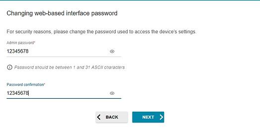 web interface password