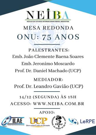 """LINK PARA O EVENTO """"ONU: 75 ANOS"""""""