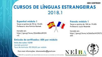 Cursos de línguas 2018.1. Inscreva-se!