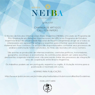 Call For Papers: Revista NEIBA, Cadernos Argentina-Brasil